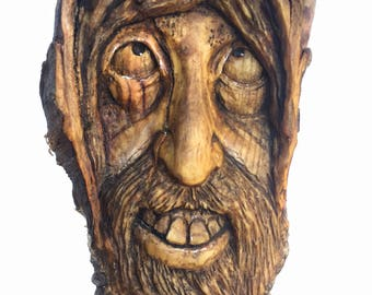 Wood Carving, Wood Spirit Carving, Wall Art Decor by Josh Carte, Handmade Woodworking, Wood Sculpture, Perfect Wood Gift, OOAK, Collectible