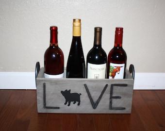 pig wine box ~ love pigs decor ~ branding iron box~ ranch decor ~ western pig box ~ western nursery decor ~ western wedding ~ show pig ~ hog