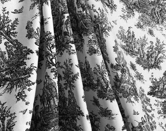 BLACK TOILE PANELS- One Pair Window Panels, Curtains, Choose Length, Unlined in Beautiful, Black and white toile