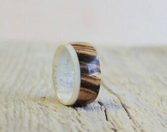 Antler Ring, Men Ring, Zebrano Wood Ring, Wedding Ring, Mens Band
