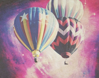 Exploring Space - 10x10 photograph - Hot Air Balloons - fine art print - vintage photography - geometric space art - pink galaxy - stars