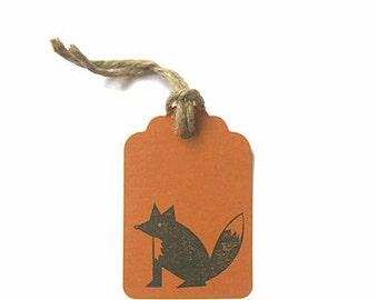 Woodland Fox Gift Tags, XL Copper Fox Tags, Woodland Animal Tags, 6 Fox tags, Rustic Gift Tags, Fall trends