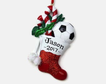 Soccer Personalized Ornament - Hand Personalized Christmas Ornament