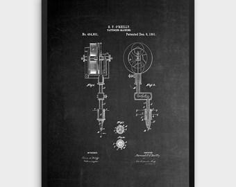 Chalkboard Tattooing Machine Patent Print | 1891 Tattoo Machine Design, Tattoo Wall Art, Tattoing Equipment, Patent Poster, Tattooist