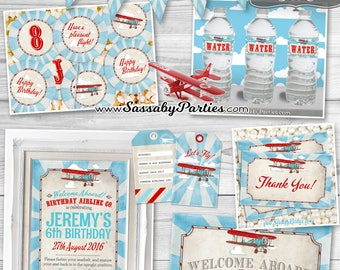 Vintage Airplane BIRTHDAY Party Collection - INSTANT DOWNLOAD - Partially editable & printable Invitation, Plane Invite, Decorations, Decor