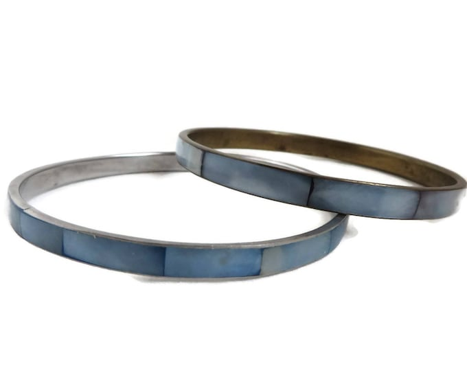 Blue Mother of Pearl Bracelets | Vintage MOP Inlay Bracelet Pair | Pastel Blue Bangle Duo