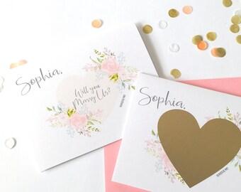 Personalisierte wird Sie heiraten uns Scratch Off Karte - Hochzeit Officiant Priester Rabbi - abkratzen Vorschlag - willst du uns heiraten, BLUSHING BRIDE