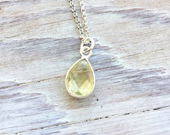Bezel Set Lemon Quartz Pendant in Sterling Silver on 18 Inch Chain Handmade for Her Summer Necklace Simple Solitaire Necklace Gemstone