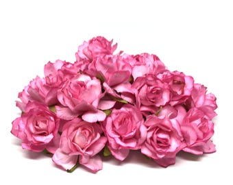 Dark Pink Classic Mulberry Paper Roses Cr038