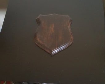 Small Solid Burnt Red Oak Shield Shaped Plaque