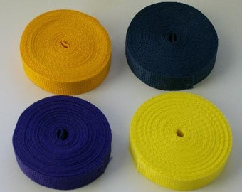 Polypro webbing 4 rolls of 5 yards (20 yards) one inch wide yellow, purple, navy, gold