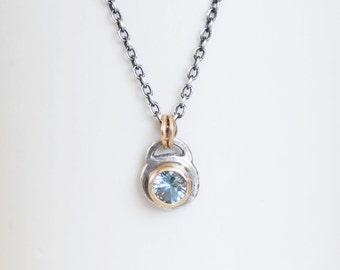 Aquamarine Gold Necklace - Silver and 14k Gold 5mm Aquamarine Necklace