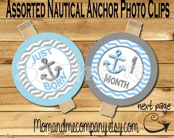 First year photo clip banner newborn to 12 months first birthday Anchor month banner first year banner Nautical birthday RIBBON INCLUDED