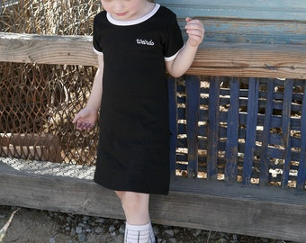 Weirdo Embroidered Ringer Dress Baby Toddler Punk Goth