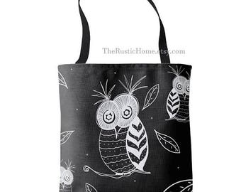 Large tote bag 16x16 Owl tote bag black white gray owls tote market bag beach gym travel school owls leaves rustic grocery tote reusable bag