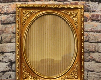 Picture Frame Carved Wood Look Resin Walnut 1973 Ornate Frame Old Time Oval Photos 10x12 Brown & Gold Regal Metalcraft IIC USA