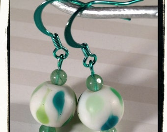 Green Baubles of Bubbles Earrings! Our own ColorSparx Design--Shiny Green Metal w/Glass and  Genuine Aventurine Beads