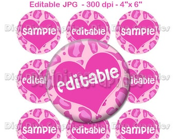 Editable - Pink Cheetah Print Bottle Cap Collage Digital Set 1 Inch Hot Pink Leopard Circle 4x6 - Instant Download - BC1150
