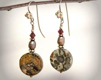 Burgundy Gray Pearl Earrings Sterling Silver Swarovski Crystal Pietersite Circle Natural Stone Handmade OOAK