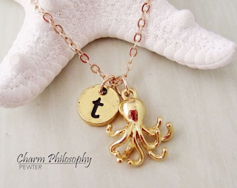 Gold Octopus Necklace - Squid Jewelry - Personalized Monogram Initial Necklace