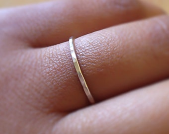 Sterling Silver Ring, SKINNY Silver Hammered Ring, Minimalist Jewelry, Stack Ring, Dainty Silver RIng, Stackable rings, Etsy Gift, Boho Ring