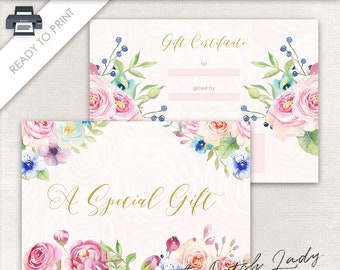 Printable Gift Certificate Design - 7 x 5 Postcard Size - Gift Card - Ready To Print - INSTANT DOWNLOAD - Design #4