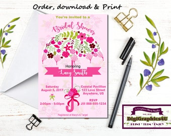 Pink Garden Bridal or Wedding Shower, Luncheon Invitation - Printable File - Customized for You