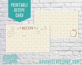 Printable Red Apple 3x5 Double Sided Recipe Card | Cooking, Pinterest, Wedding Shower| Digital JPG Files, Instant Dowload, File NOT Editable
