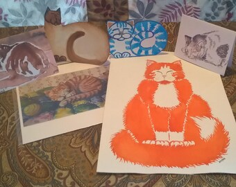 CAT ART for the year 12 artworks featuring cats originals prints some matted some framed gift cat lover calico siamese kitten 1 dollar S/H