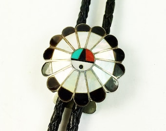 Zuni Sunface Bolo Tie Slide and Black Leather Tie Silver Tone Vintage-Zuni Sunface Mother of Pearl Onyx Bolo Tie Slide