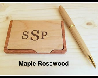 Personalized Engraved Business Card Holder, Boss Gift, Custom, Card Case, Corporate Gifts, Fathers Day Gift, Graduation gift. Gift Her Maple