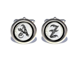 Mens Custome  Monogram/Monogrammed Initial Cufflinks - Personalised Engraved Gift Box Available