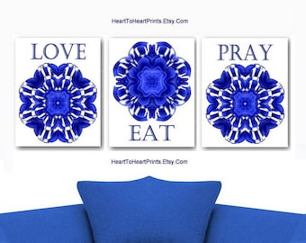 Cobalt Blue Floral Kitchen Wall Art Royal Blue Dining Room Set Of 3 Dahlia  Art Prints Eat Pray Love Wall Decor Blue White Kitchen Prints