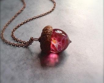 Glass Autumn Acorn Necklace - Raspberry Peach by Bullseyebeads