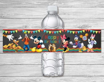 Mickey Mouse Clubhouse Water Bottle Labels Chalkboard / Mickey Mouse Clubhouse Birthday Party / Mickey Mouse Clubhouse Drink Labels Favors