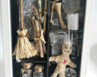 Witch Cabinet-shadow box- art box-witch-witchcraft-voodoo-decoration-curiosity cabinet-hex-fabric doll-frak-magic-