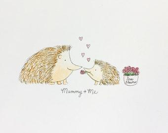 Custom Mummy and {Baby Name} Personalised Nursery Art-Hedgehogs/Turtles/Elephants
