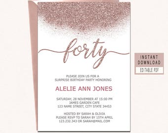 40th invitations Etsy