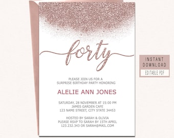 40th birthday invite etsy rose gold forty and fabulous invitation forty birthday invites 40th birthday invitations for women 40th birthday invites instant download filmwisefo