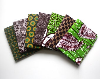 Fat Quarters, Shweshwe and Ankara fat quarters, 7 Fat Quarters, Green and Brown Fat Quarter Bundle, Patchwork fabric, Quilting fabric