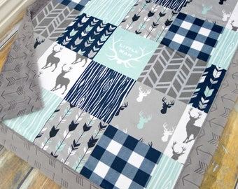Baby Blanket - Faux Patchwork Quilt - Little Man Blanket - Deer Baby Blanket - Baby Gift - Boy Baby Blanket - Baby Blankets - Wild and Free