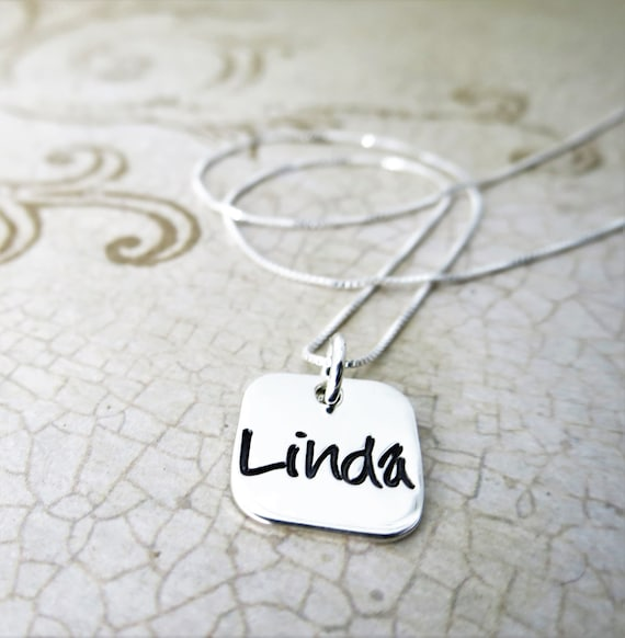 Name Necklace   Name Jewelry   Custom Name Jewelry   Sterling Silver Pendant   Sterling Silver Square   Rounded Square Pendant