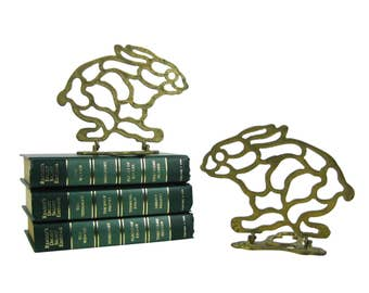 Vintage Pair of Brass Bunny Rabbit Bookends, Mid Century Brass Rabbits, Brass Filigree Collapsible Folding Bunnies Book Ends