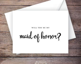Printable Will You Be My Maid of Honor Card, Black, Instant Download Greeting Card, Will You Be My Bridesmaid, Wedding Card – Carmen
