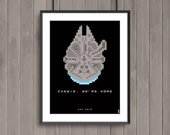 STAR WARS, Han Solo, Pixel art movie poster