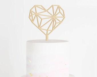 Heart Cake Topper, Geometric Heart Wedding Cake Topper, Wedding Cake Topper, Geometric Cake Topper, Engagement Topper, Geometric Cake Topper