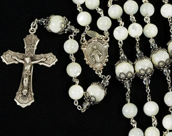 Mother of Pearl Rosary - Handmade gift for Catholic Womens with MOP Beads, Bali Sterling Silver, Swarovski Crystals and Miraculous Mother