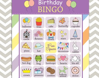 Printable Kid's Birthday Party Bingo, 20 unique prefilled game cards, Instant download!