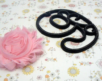 """House Mailbox """" Number 9 Nine """" 4.5 Inches Cast Iron Black Shabby Elegance Distressed Victorian Swirl Table Address Accent Number #9"""