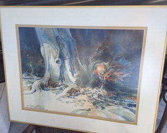 Vintage Finis Collins Original Watercolor Painting Surreal Tree Texas Artist ART